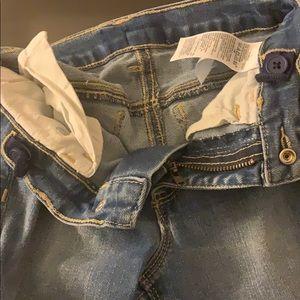 Bottoms - Girls denim long jeans with leg hole designs